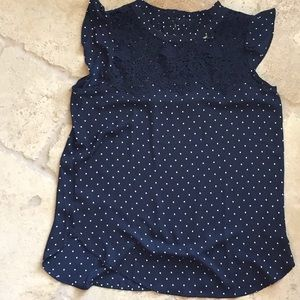 Loft Navy and White Polka Dot Top with Lace XS